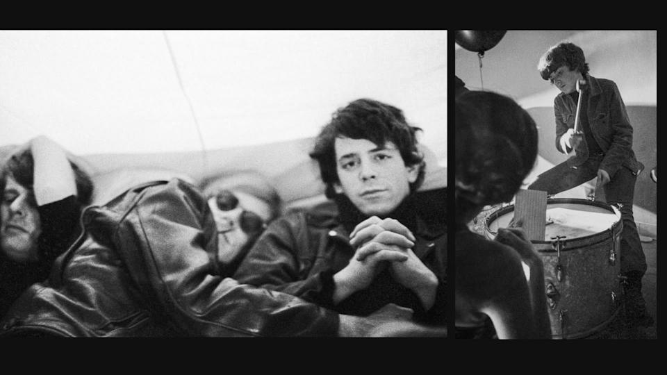 """Paul Morrissey, from left, Andy Warhol, Lou Reed and Moe Tucker from archival photography in a split-screen frame from """"The Velvet Underground."""""""