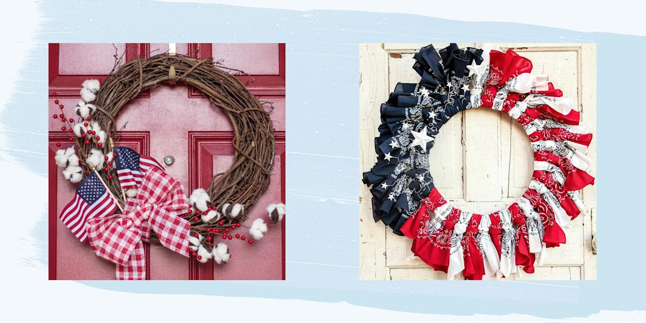 "<p>The 4th of July is just around the corner, and you know what that means: It's now completely acceptable–encouraged, even!—to show off your American pride in a multitude of ways. That's precisely why we've rounded up these gorgeous 4th of July wreaths to proudly hang on your door.</p><p>If you're already planning on decking the halls with red, white, and blue decorations (here's <a href=""https://www.countryliving.com/life/a5605/american-flag-etiquette/"" target=""_blank"">how to properly hang the American flag</a>) , hosting a <a href=""https://www.countryliving.com/entertaining/g801/summer-party-ideas-0609/"">star-spangled cookout</a> at home, or celebrating with these <a href=""https://www.countryliving.com/entertaining/g4463/4th-of-july-activites/"" target=""_blank"">fun, family 4th of July activities</a>, odds are you'll still want to get your front door ready for Independence Day. It's the first thing your party guests will see when they come to your home, after all. </p><p>Regardless of your idea of the perfect <a href=""https://www.countryliving.com/entertaining/g1835/fourth-of-july-party-decorations/"" target=""_blank"">4th of July party decorations</a>, there's something here that everyone will love, from subdued, modern lines to colorful, vibrant hues. Lush floral designs abound, but so do modern, minimalist ones with tons of empty space. And whether you're in the mood to break out all the craft supplies for this project, or would rather make something simple with supplies you can find around the house, we've got more than a few options for you to check out. When you're done, don't forget to take a look at our favorite <a href=""https://www.countryliving.com/food-drinks/g3380/4th-of-july-recipes"">4th of July recipes</a>, <a href=""https://www.countryliving.com/food-drinks/g1783/4th-of-july-desserts/"">4th of July desserts</a>, and <a href=""https://www.countryliving.com/food-drinks/g2465/boozy-4th-of-july-drinks/"">4th of July drinks</a>!</p>"