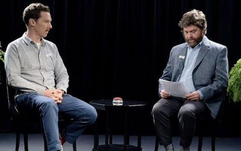 Benedict Cumberbatch and Zach Galifianakis in Between Two Ferns: the Movie