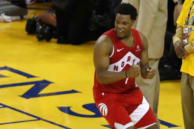 Kyle Lowry #7 of the Toronto Raptors celebrates late in the game against the Golden State Warriors during Game Six of the 2019 NBA Finals at ORACLE Arena on June 13, 2019 in Oakland, California. (Photo by Lachlan Cunningham/Getty Images)