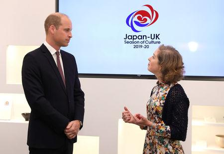 Britain's Prince William talks to Rebecca Simor, Director, Festivals and Seasons at the British Council,  at the official opening of Japan House in London, Britain, September 13, 2018. Tim P. Whitby/Pool via REUTERS