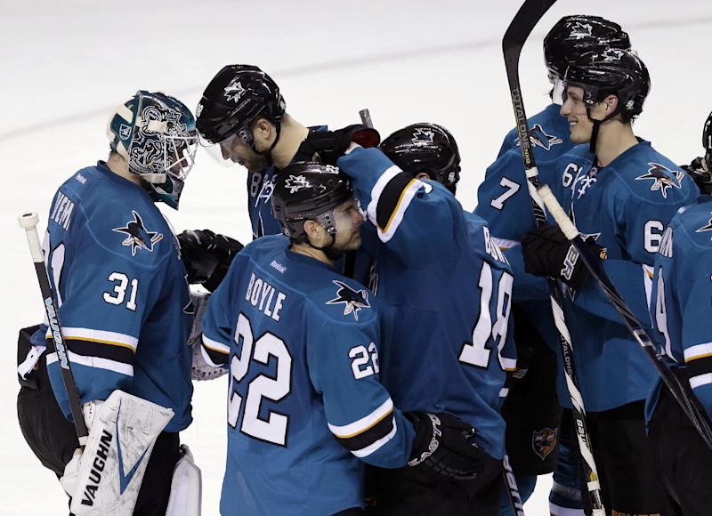 Burns has hat trick in Sharks' 6-3 win over Blues