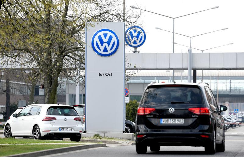 FILE PHOTO: Logo of Volkswagen is seen at their plant in Wolfsburg