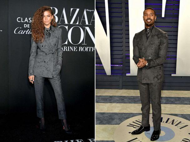 PHOTO: Zendaya attends the 2019 Harper's Bazaar ICONS on Sept. 06, 2019, in New York and Michael B. Jordan attends the 2019 Vanity Fair Oscar Party on Feb. 24, 2019, in Beverly Hills, Calif. (Getty Images)