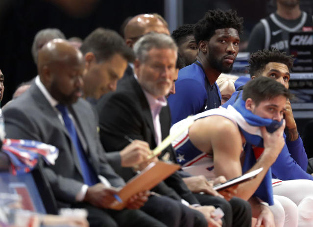 """Philadelphia center <a class=""""link rapid-noclick-resp"""" href=""""/nba/players/5294/"""" data-ylk=""""slk:Joel Embiid"""">Joel Embiid</a> is frustrated with his play recently and hasn't """"been myself"""" since the <a class=""""link rapid-noclick-resp"""" href=""""/nba/players/4912/"""" data-ylk=""""slk:Jimmy Butler"""">Jimmy Butler</a> trade. (AP Photo/Paul Sancya)"""