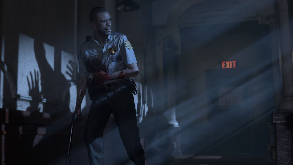 Resident Evil's Marvin Branagh stands in the shadows as something pursues him.