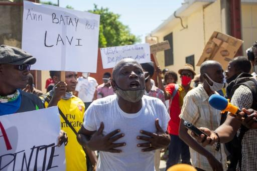 A demonstration against police brutality and alleged human rights violations on July 6, 2020, near the Ministry of Justice in Port-au-Prince, Haiti