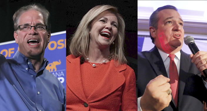 GOP Senate victors Mike Braun of Indiana, Marsha Blackburn of Tennessee and Ted Cruz of Texas. (Photos: Jim Young/Getty Images, Alex Wong/Getty Images, Cathal Mcnaughton/Reuters)