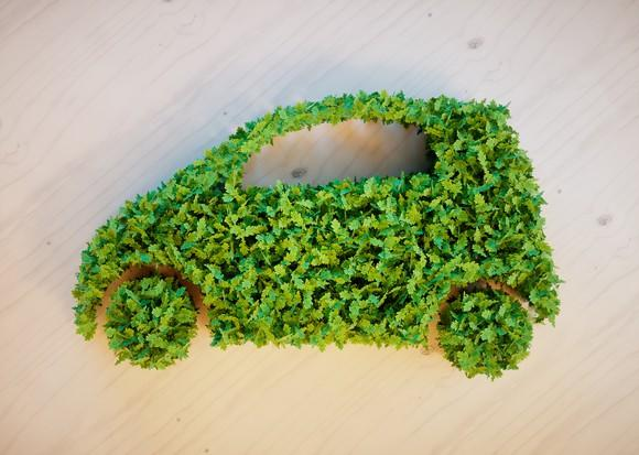 Green leaves form the shape of a car on a wooden background