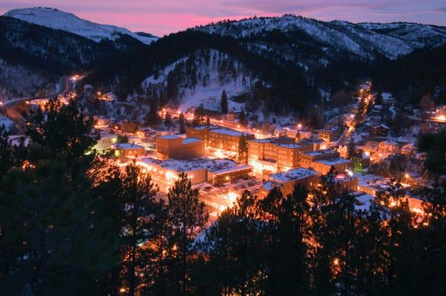 This nighttime view of Deadwood, S.D., is from Mt. Moriah Cemetery, which received a three-year, $4.8 million comprehensive restoration thanks to historic preservation funds generated by legalized gaming.