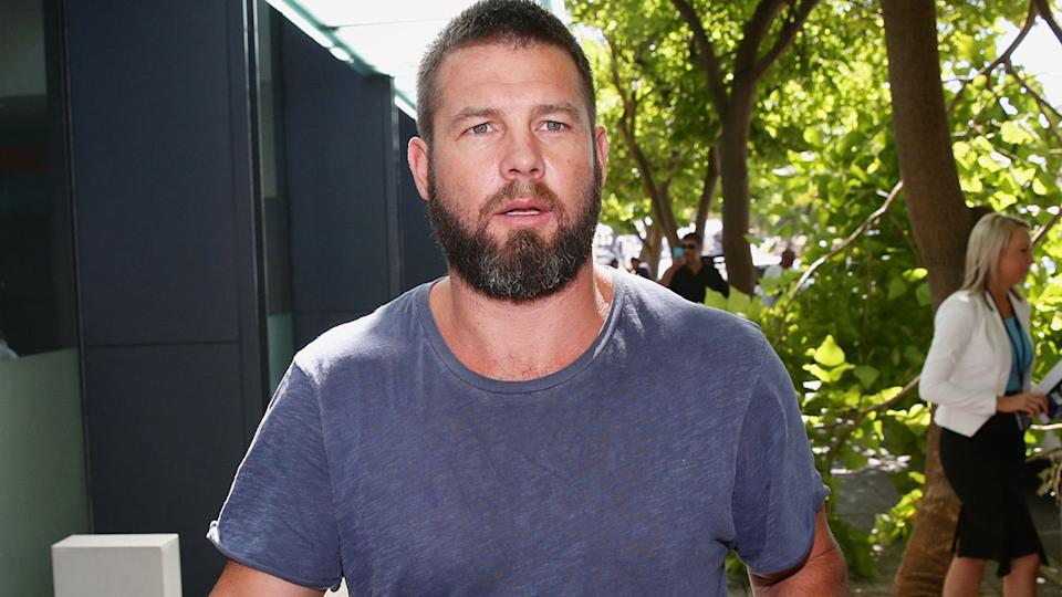 Ben Cousins, pictured here leaving Fremantle Magistrates Court in 2017.