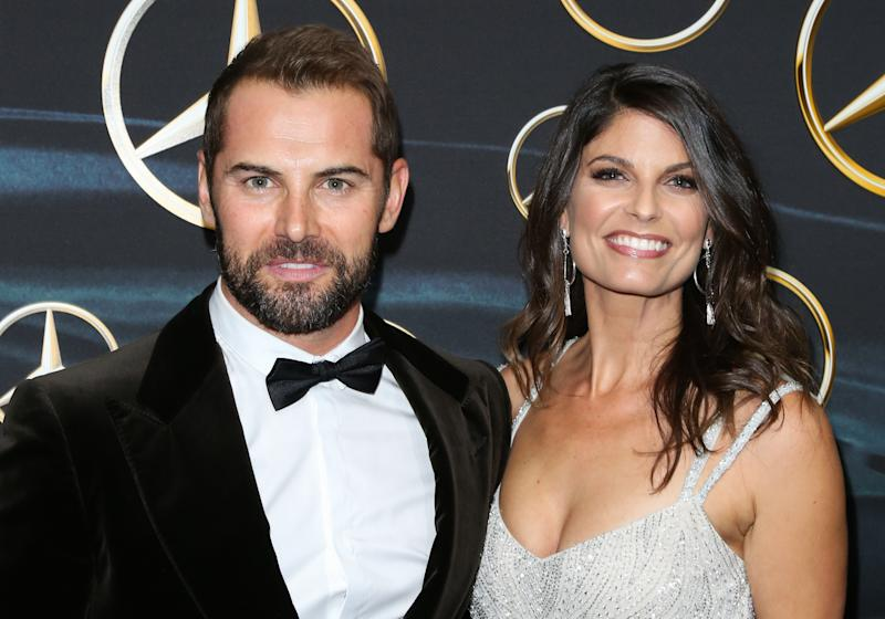 LOS ANGELES, CA - MARCH 04: Actors Daniel MacPherson (L) and his Wife Zoe Ventoura (R) attend Mercedez-Benz USA's official Awards viewing party at The Four Seasons Hotel Los Angeles at Beverly Hills on March 4, 2018 in Los Angeles, California. (Photo by Paul Archuleta/FilmMagic)