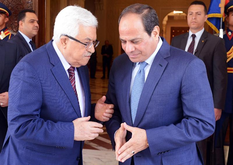 Relations between Egyptian President Abdel Fattah al-Sisi (R) and Palestinian leader Mahmud Abbas, pictured in May 2016, have been strained, with a senior Palestinian official recently being refused entry to Egypt to attend a conference