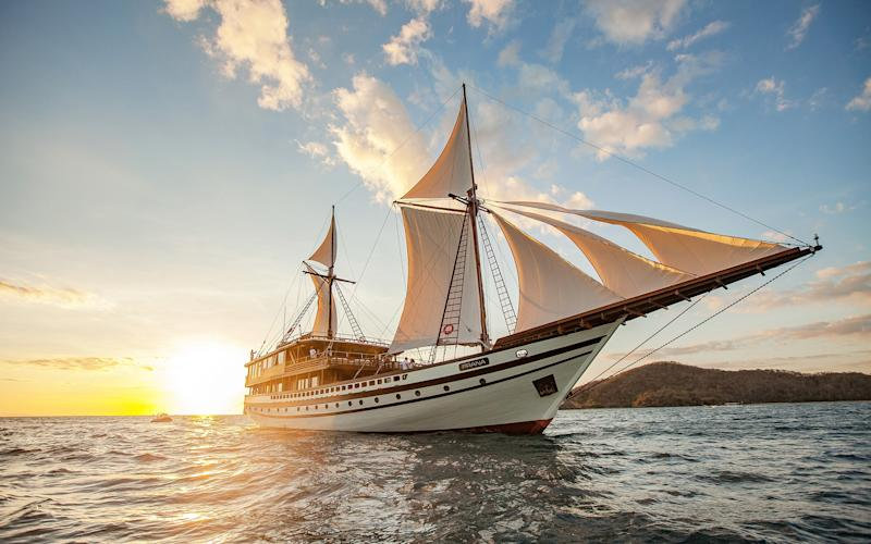Head to Bali on the Prana by Atzaro, the biggest two-masted pinisi boat ever built