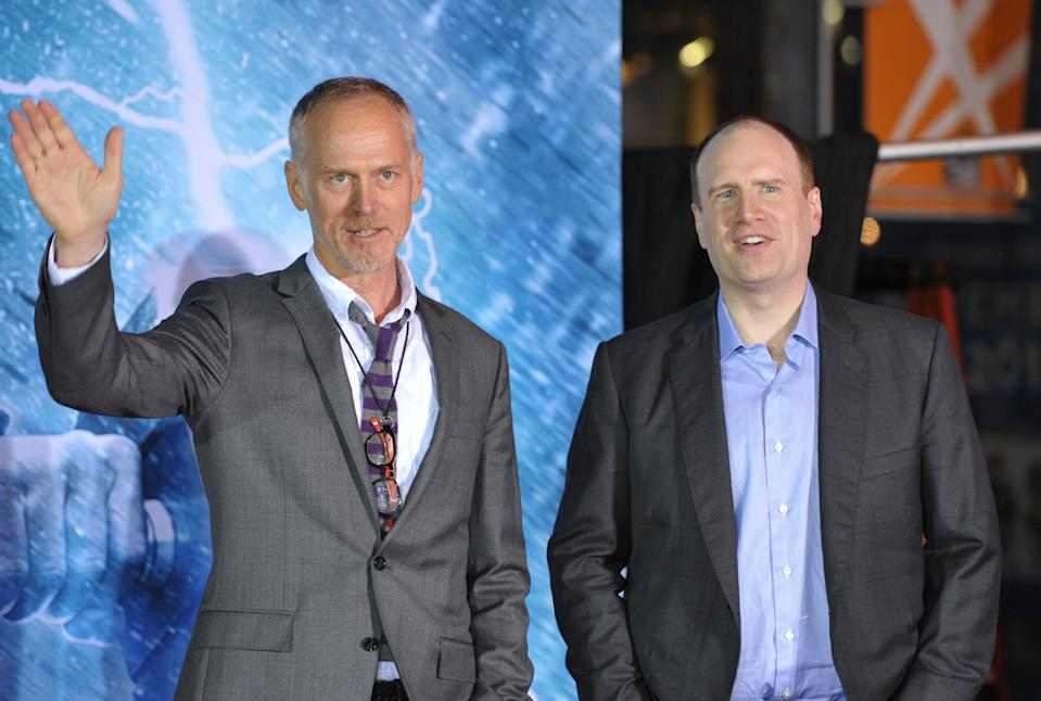"""Alan Taylor, left, and Kevin Feige, president of production at Marvel Studios, arrive at the U.S. premiere of """"Thor: The Dark World"""" at the El Capitan Theatre on Monday, Nov. 4, 2013, in Los Angeles. (Photo by John Shearer/Invision/AP)"""