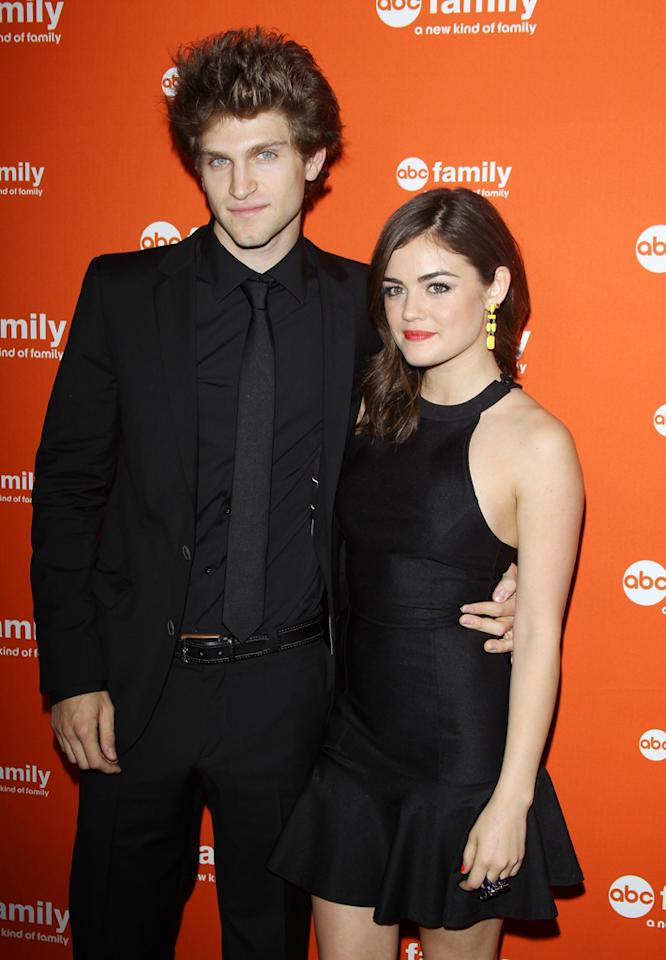 """Keegan Allen and Lucy Hale (""""Pretty Little Liars"""") arrive at ABC Family's West Coast Upfronts at The Sayers Club on May 1, 2012 in Hollywood, California."""