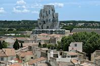 Frank Gehry's tower is wrapped in 11,000 stainless-steel panels