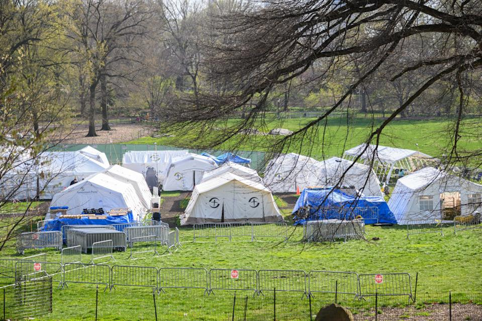Pictured are military tents set up on the East Meadow lawn in New York City's Central Park.