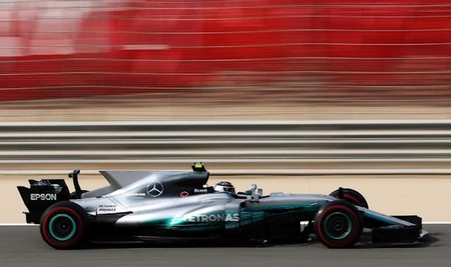 Mercedes' Valtteri Bottas drives his car during the third practice session ahead of qualifying for the Bahrain Formula One Grand Prix at the Sakhir circuit in Manama on April 15, 2017 (AFP Photo/KARIM SAHIB)