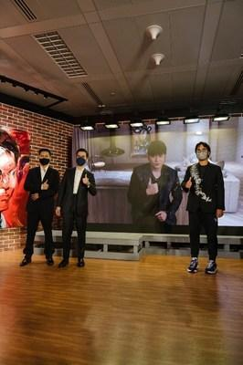 Adrian Cheng, Jay Chou, Nathan Drahi and Jazz Li (from right to left) attended the private preview in K11 ATELIER Victoria Dockside to kick off the auction preview of JAY CHOU X SOTHEBY'S