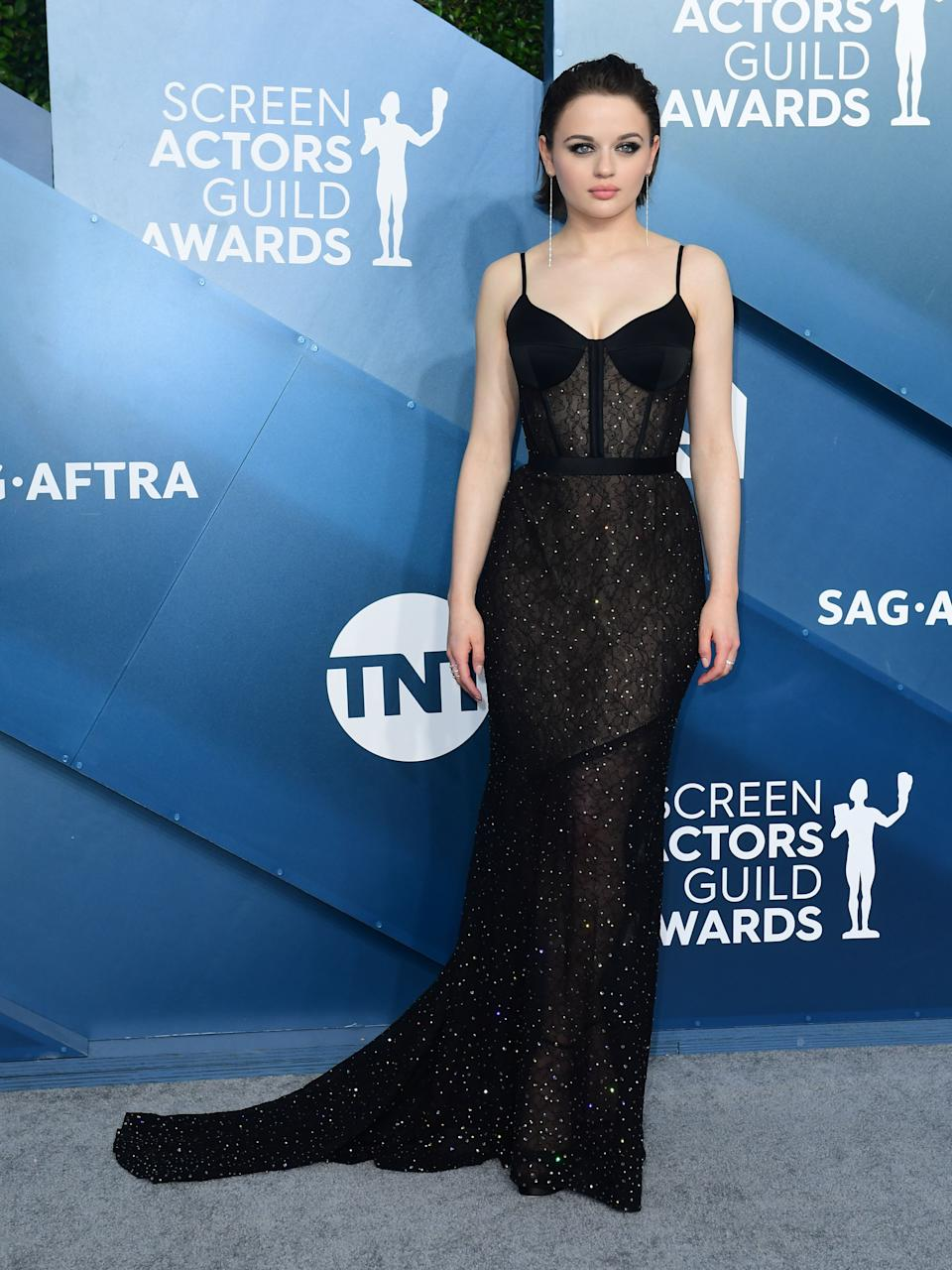 """<h2>Joey King in Jason Wu</h2><br>Joey King walked the red carpet alongside her mom and grandma, looking elegant and sophisticated in this sheer, black corset gown.<span class=""""copyright"""">Photo by FREDERIC J. BROWN/AFP via Getty Images.</span>"""