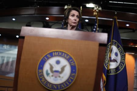 U.S. House Minority Leader Nancy Pelosi (D-CA) holds a news conference about pending legislation regarding Department of Homeland Security funding, at the U.S. Capitol in Washington, February 27, 2015. REUTERS/Jonathan Ernst