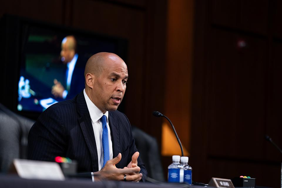 WASHINGTON, DC - OCTOBER 15: Senator Cory Booker (D-NJ) speaks during the fourth day of Senate Judiciary Committee on the confirmation hearing for Supreme Court nominee Amy Coney Barrett, on Capitol Hill October 15, 2020 in Washington, DC. With less than a month until the presidential election, President Donald Trump tapped Amy Coney Barrett to be his third Supreme Court nominee in just four years. If confirmed, Barrett would replace the late Associate Justice Ruth Bader Ginsburg. (Photo by Anna Moneymaker-Pool/Getty Images)