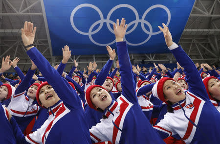 North Korean cheerleaders at the Czech Republic vs South Korea hockey game. REUTERS/Kim Kyung-Hoon