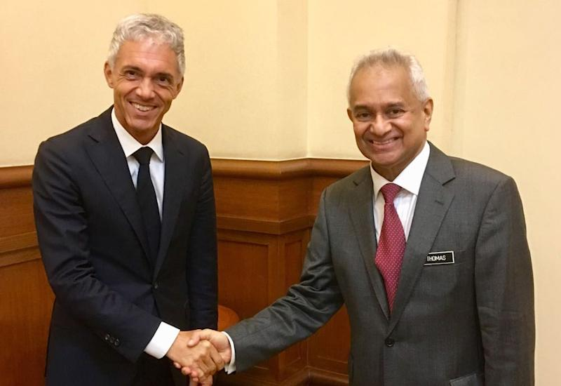 Swiss Attorney General Michael Lauber visits Malaysian Attorney General Tommy Thomas in Putrajaya July 10, 2018. — Picture courtesy of the Office of the Attorney General of Switzerland