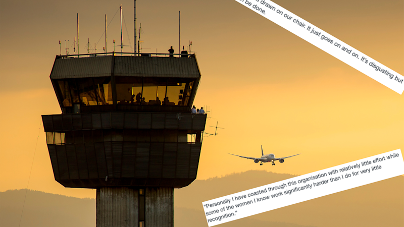 Pictured: An air traffic control centre and text from Anthony North report on Airservices Australia: Images: Getty, A REPORT CONCERNING THE WORKPLACE OF AIRSERVICES AUSTRALIA