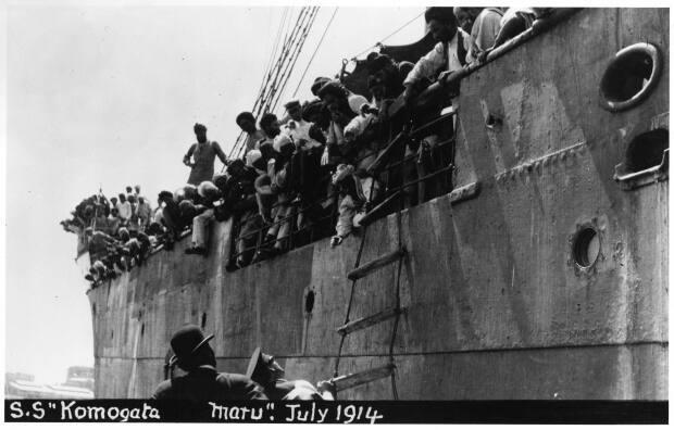 The Komagata Maru arrived on Canada's West Coast on May 23, 1914. Nearly all of the 376 passengers were denied entry and the ship sat in the harbour for two months.  (Vancouver Public Library 13157 - image credit)