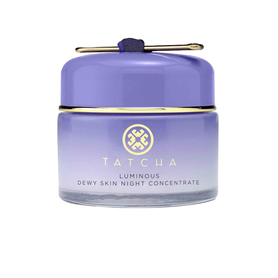"""Joining the family of Tatcha's beloved face mist, <a href=""""https://www.allure.com/story/tatcha-luminous-dewy-skin-mask?mbid=synd_yahoo_rss"""" rel=""""nofollow noopener"""" target=""""_blank"""" data-ylk=""""slk:sheet mask"""" class=""""link rapid-noclick-resp"""">sheet mask</a>, and night cream is <a href=""""https://www.allure.com/story/tatcha-the-dewy-skin-cream-mario-dedivanovic?mbid=synd_yahoo_rss"""" rel=""""nofollow noopener"""" target=""""_blank"""" data-ylk=""""slk:The Dewy Skin Cream"""" class=""""link rapid-noclick-resp"""">The Dewy Skin Cream</a>, a rich cream inspired by makeup artist Mario Dedivanovic that features Japanese purple rice (hence the lavender color), Okinawan algae blend, and hyaluronic acid to plump skin with hydration. Look for it in stores next month."""