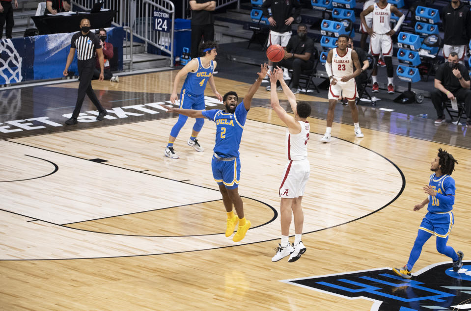 Alex Reese's 3 was a great moment for college basketball fans, and not a great moment for under bettors. (Photo by Ben Solomon/NCAA Photos via Getty Images)