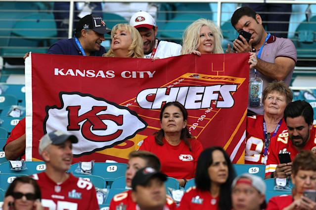 Kansas City Chiefs fans before Super Bowl LIV at Hard Rock Stadium. (Photo by Jamie Squire/Getty Images)
