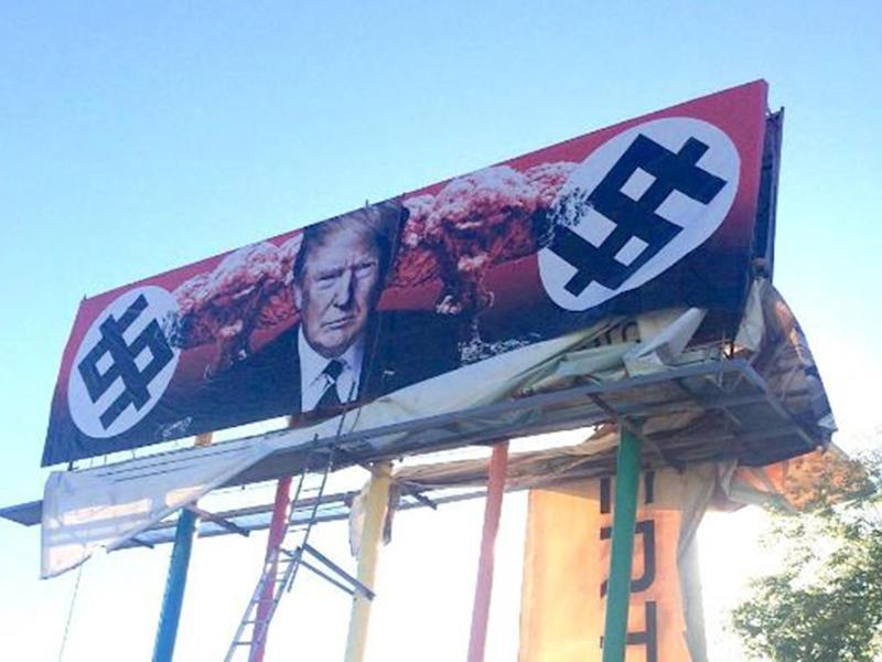 The billboard went on display in Grand Avenue, Phoenix, Arizona on 17 March: Beatrice Moore