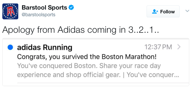 """Adidas slammed for poorly worded """"You survived the Boston Marathon"""" email"""