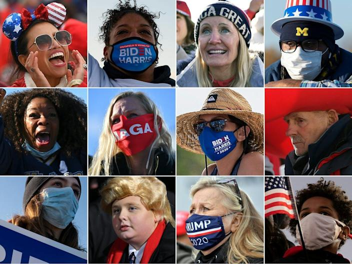 12 head shots of Trump and Biden voters are arrayed in a 4 by 3 grid, many wearing masks with political slogans.
