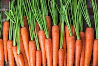 """<p><a href=""""https://www.goodhousekeeping.com/health/diet-nutrition/a48002/carrot-nutrition/"""" rel=""""nofollow noopener"""" target=""""_blank"""" data-ylk=""""slk:Carrots"""" class=""""link rapid-noclick-resp"""">Carrots</a> are full of vitamin A, which helps with vision — especially at night. Enjoy these root veggies raw, <a href=""""https://www.goodhousekeeping.com/food-recipes/a11995/shredded-carrot-raisin-salad-recipe-122650/"""" rel=""""nofollow noopener"""" target=""""_blank"""" data-ylk=""""slk:shredded in salads"""" class=""""link rapid-noclick-resp"""">shredded in salads</a>, or blended in <a href=""""https://www.goodhousekeeping.com/food-recipes/g5067/how-to-make-a-smoothie/"""" rel=""""nofollow noopener"""" target=""""_blank"""" data-ylk=""""slk:smoothies"""" class=""""link rapid-noclick-resp"""">smoothies</a>.</p><p><strong>RELATED: </strong><a href=""""https://www.goodhousekeeping.com/food-recipes/a14891/spice-roasted-carrots-recipe-ghk1114/"""" rel=""""nofollow noopener"""" target=""""_blank"""" data-ylk=""""slk:Best Spiced Roasted Carrots Recipe"""" class=""""link rapid-noclick-resp"""">Best Spiced Roasted Carrots Recipe</a></p>"""