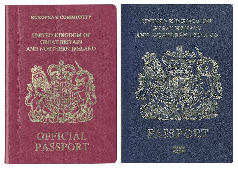 The new post-Brexit passport is blue, and very behind schedule - afp