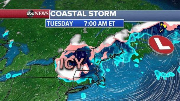 PHOTO: Accumulations will not be high for snow, with most areas getting 1 to 2 inches, but the icy glaze on roads and bridges is what we are worried about over the next 24 to 36 hours. (ABC News)