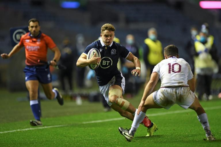 Double delight - Scotland wing Darcy Graham (L) scored two tries against Georgia