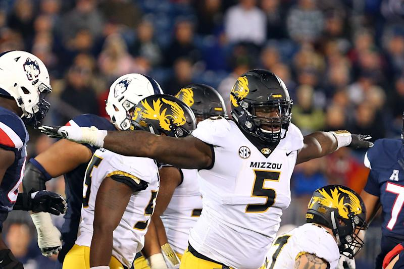 EAST HARTFORD, CT - OCTOBER 28: Missouri Tigers defensive lineman Terry Beckner Jr. (5) gestures after a tackle during a college football game between Missouri Tigers and UConn Huskies on October 28, 2017, at Rentschler Field in East Hartford, CT. Missouri defeated UConn 52-12. (Photo by M. Anthony Nesmith/Icon Sportswire via Getty Images)