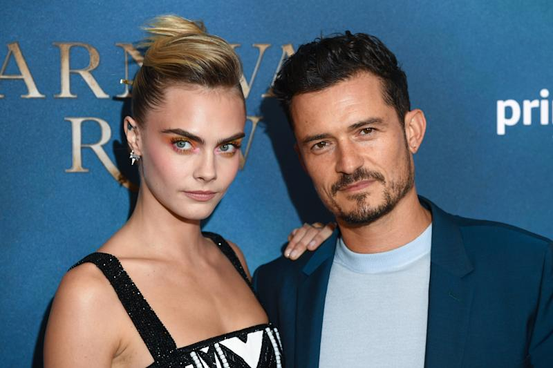 "LONDON, ENGLAND - AUGUST 28: Orlando Bloom and Cara Delevingne attend the Amazon Original series ""Carnival Row"" London Screening at The Ham Yard Hotel on August 28, 2019 in London, England. (Photo by Gareth Cattermole/Getty Images)"