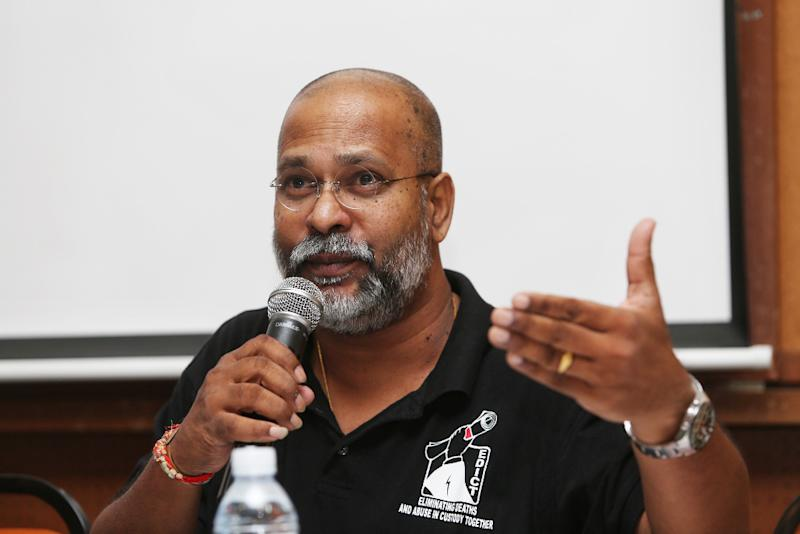 M. Visvanathan speaks at a forum by Suaram and EDICT (Eliminating Death and Abuse in Custody Together) on police responsibility and how IPCMC can help strengthen the police force July 16, 2019. — Picture by Choo Choy May