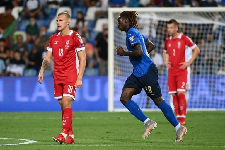 Moise Kean scored his first goals for Italy since March 2019 (AFP/Vincenzo PINTO)