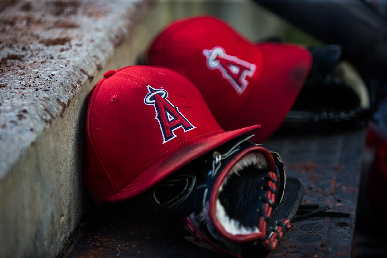 NEW YORK, NY - MAY 25:  A general view of a Los Angeles Angels hat in the dugout during the game between the New York Yankees and the Los Angeles Angels at Yankee Stadium on Friday May 25, 2018 in the Bronx borough of New York City. (Photo by Rob Tringali/SportsChrome/Getty Images) *** Local Caption ***