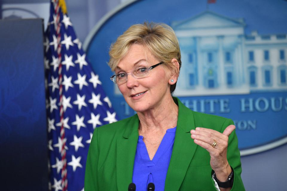 Secretary of Energy Jennifer Granholm holds a press briefing in the Brady Briefing Room of the White House in Washington, DC on May 11, 2021. (Photo by Nicholas Kamm / AFP) (Photo by NICHOLAS KAMM/AFP via Getty Images)