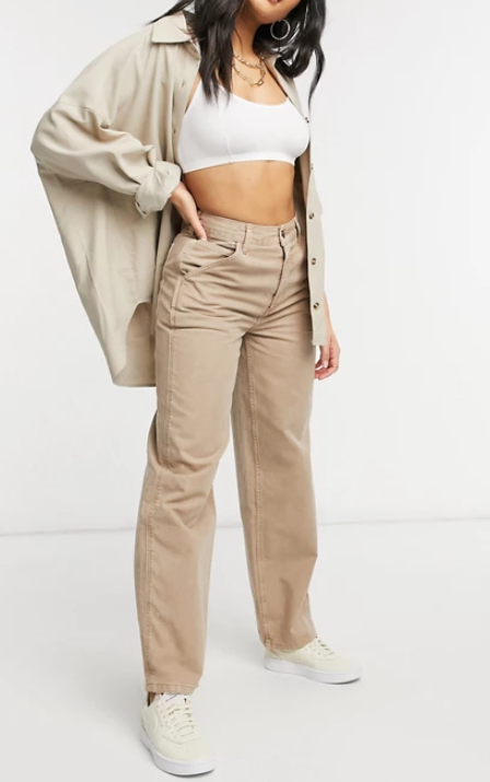 ASOS DESIGN slouchy chino pant in stone, $60. Photo: ASOS.