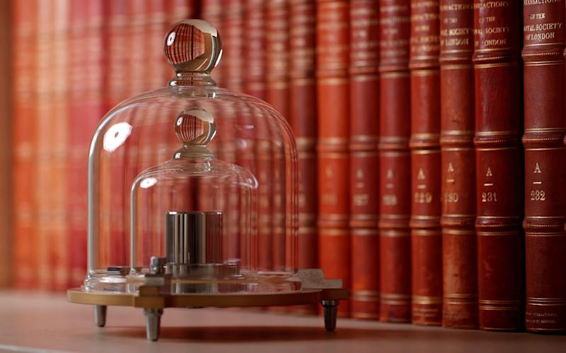 A replica of the International Prototype Kilogram is pictured at the International Bureau of Weights and Measures (BIPM) - REUTERS