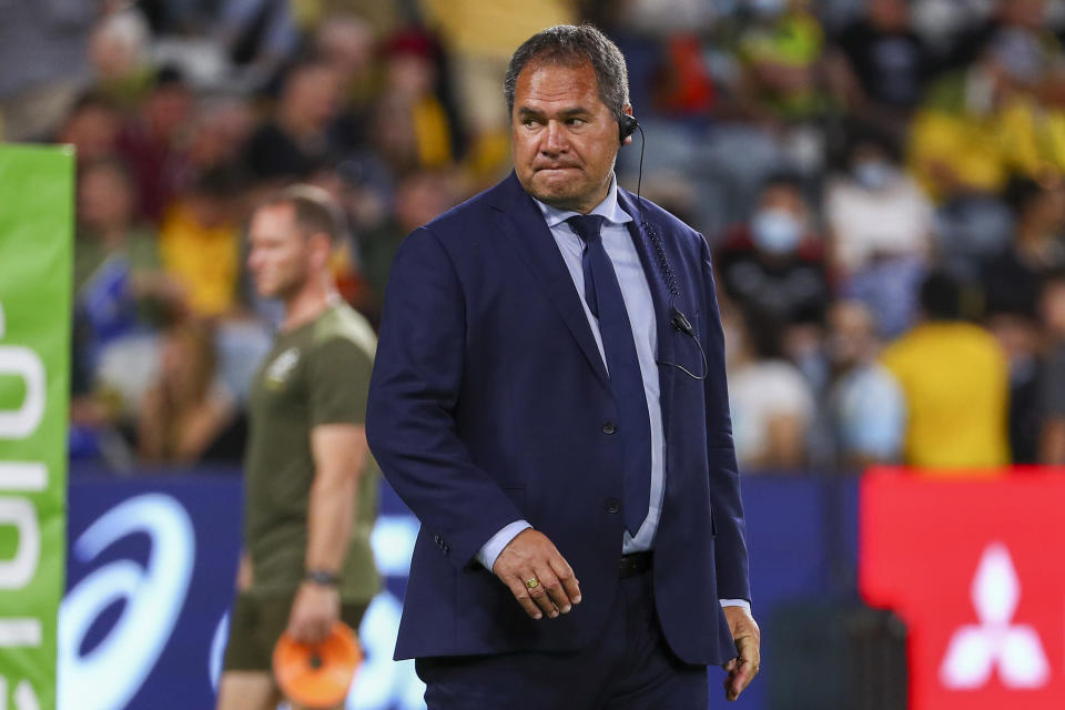 Australia's rugby coach Dave Rennie watches his players warm up ahead of the Rugby Championship test match between the Pumas and the Wallabies in Townsville, Australia, Saturday, Sept. 25, 2021. (AP Photo/Tertius Pickard)